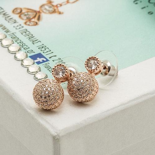 Fe7567 Αριστοκρατικά σκουλαρίκια με λεπτά κρυσταλλάκια