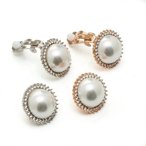 Fe7948 Αριστοκρατικά σκουλαρίκια πέρλα με κλιπ σε επάργυρο & rose gold