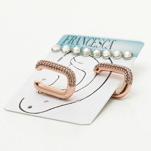 Fe8352 Οβάλ σκουλαρίκια πτερυγίου,με λεπτά κρυσταλλάκια,σε ροζ χρυσο.