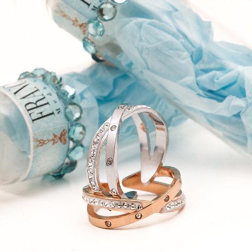 FR7560 Δαχτυλίδι Χ,για όλα τα δάχτυλα,σε ασημί και ροζ χρυσό.
