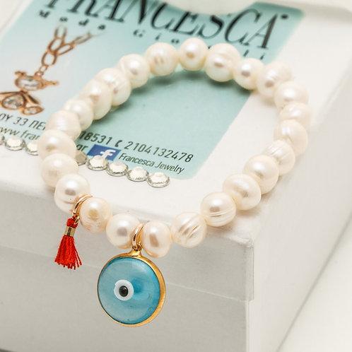 Fb7472 Αριστοκρατικό ελαστικό βραχιόλι μαργαριτάρι, γαλάζιο μάτι