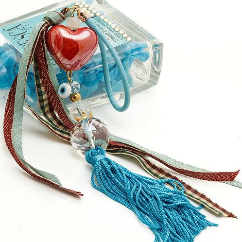 Fg8409 Χειροποίητο γούρι με κεραμεική καρδιά και πρωτότυπα στοιχεία!