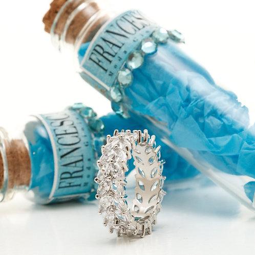 Fr8193 Exclusive!!   Δαχτυλίδι ολόβερο ατσάλι,με κρυσταλλάκια σε νούμερα 18,19