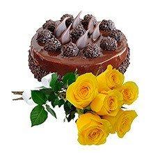 Bolo de chocolate c/ rosas amarelas