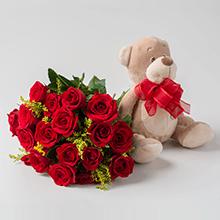 Buque de 19 rosas vermelhas e pelúcias