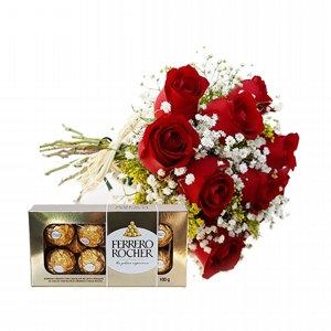 Buque 8 rosas vermelhas com ferrero 8