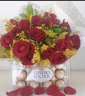 Buque com 18 rosas e chocolate