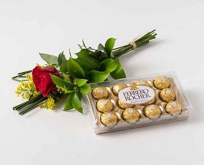 Rosa solitária com chocolate