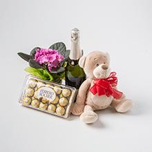 Pequeno Vaso de Flores + Caixa Ferrero Rocher de 18 un + Espumante + Ursinho