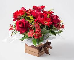 Cachepo de Rosas Vermelhas e Astromelias