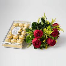 Buque de 6 rosas vermelhas e chocolates