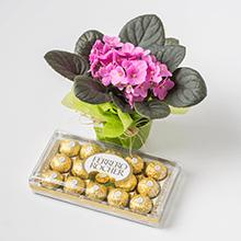Pequeno Vaso de Flores + Caixa Ferrero Rocher de 18 un