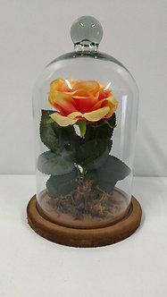 Redoma Encantada com rosa ambiance Amarela Artificial
