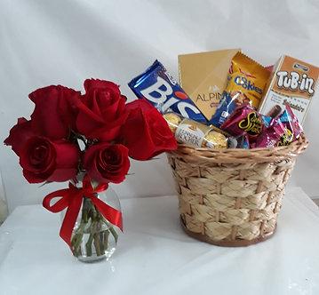 Kit doçura com arranjo de rosas vermelhas