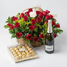 Cesta class com 40 rosas,espumante e chocolate