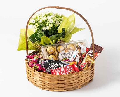 Cesta Amor de chocolate com flores
