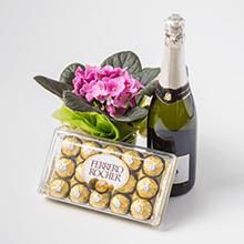 Pequeno Vaso de Flores + Caixa Ferrero Rocher de 18 un + Espumante
