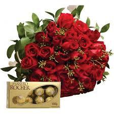 Buque 30 Rosas Vermelhas + Ferrero Rocher
