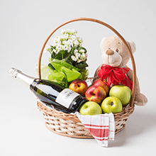 Cesta com frutas,pelúcia,espumante e flores