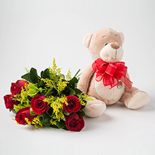 Buque de 6 rosas vermelhas e pelúcias