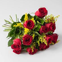 Buquet com 10 Rosas Vermelhas
