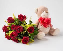 Ramalhete com  10 Rosas Vermelhas + Urso de pelúcia