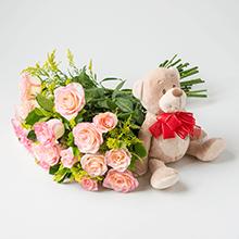 Ursinho + Buque de 12 Rosas amorosas