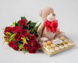 Ramalhete com 16 Rosas Vermelhas + Urso de pelúcia + Ferrero Rocher