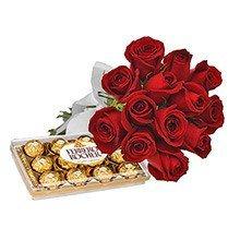 buque 12 rosas vermelhas e chocolate