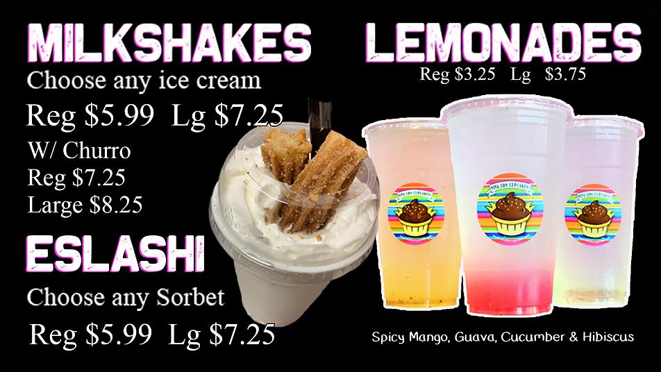 Website menu milshakes smothies lemonade