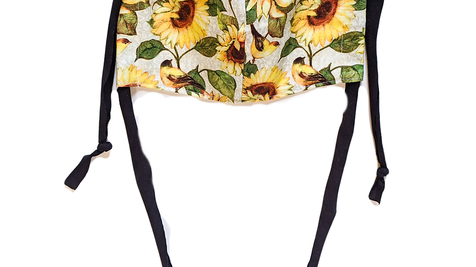 Sunflower Adult Medium Fitted Face Mask with Ties