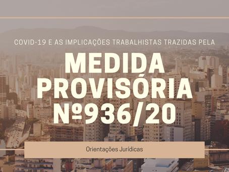 Implicações Trabalhistas trazidas pela Medida Provisória nº 936/20