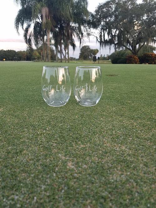 Signature Golf Life Stemless Wine Glasses