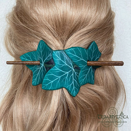 Turquoise Ivy Leaves - Leather Hair Barrette