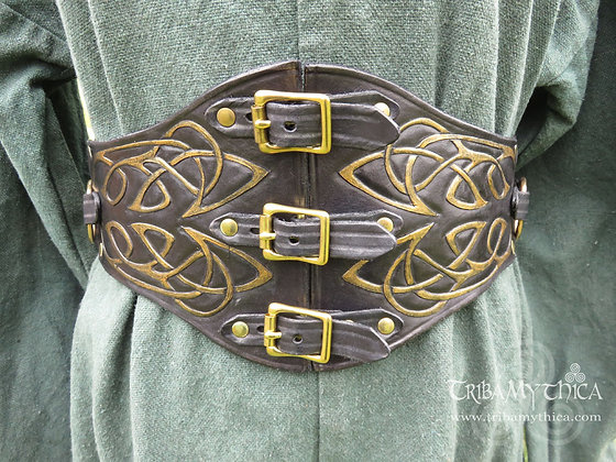 Black and Gold Celtic Leather Belt with hand tooled design