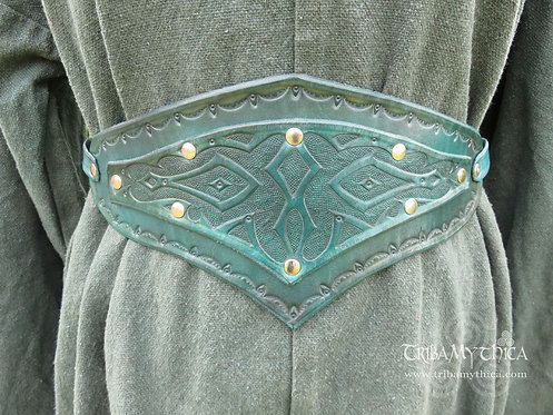Green Leather Belt with hand tooled design