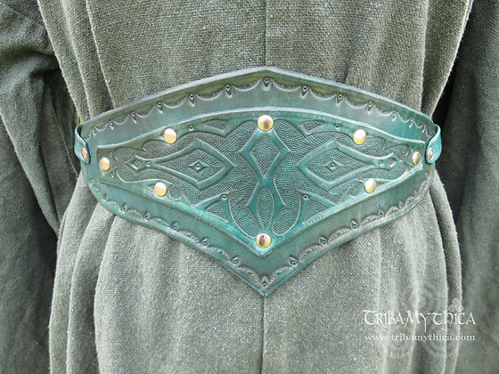 Teal Green Leather Belt with hand tooled design