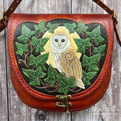 Barn Owl and Ivy Leather Bag