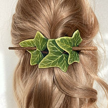 Leather Hair Barrette Ivy Leaf