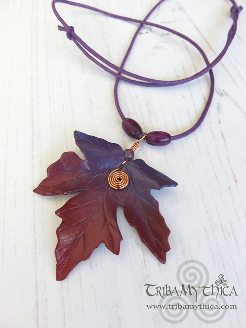 Small Purple & Red Maple Leaf Necklace