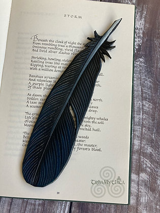 Crow Feather Luxury Leather Bookmark