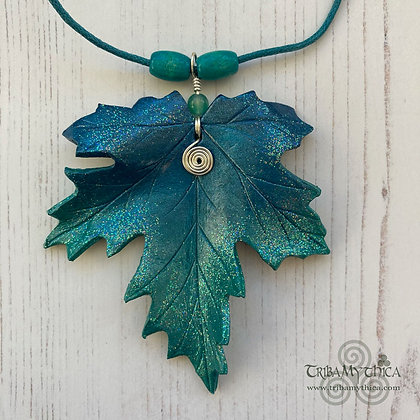 Sparkling Turquoise Maple Leaf Necklace