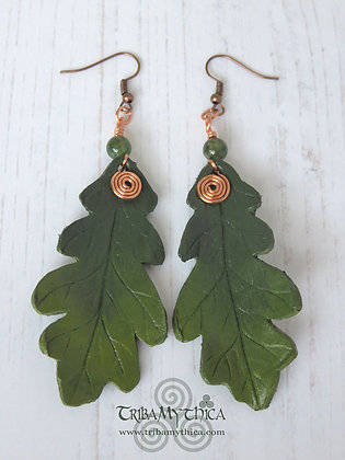 Oak Leaf Earrings - Green