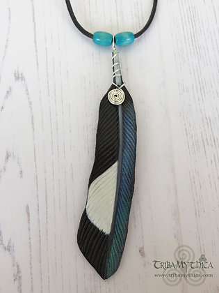 Magpie Feather Leather Necklace -Turquoise