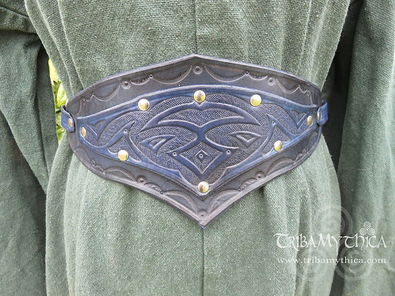 Blue Leather Belt with hand tooled design