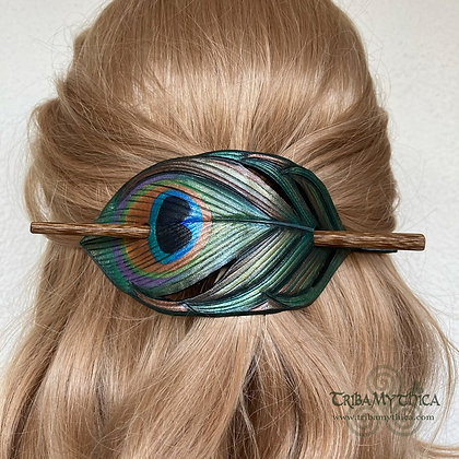 Peacock Feather - Leather Hair Barrette