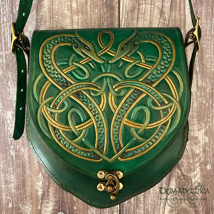 Norse Dragons Small Leather Bag