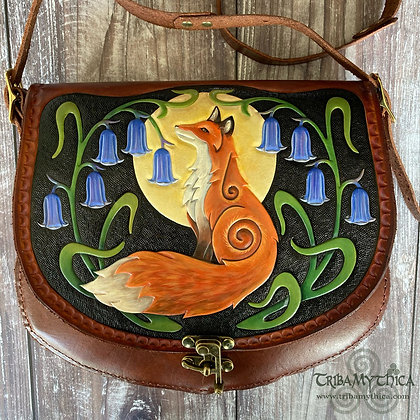 Fox and Bluebells - Large Leather Bag