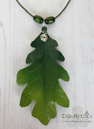 Large Green Oak Leaf Necklace - Silver