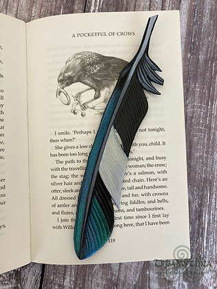 Magpie Feather Luxury Leather Bookmark